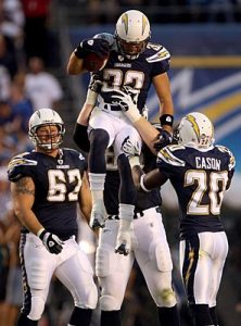 Chambers gets a Chargers special Lifted version of the Man Hug