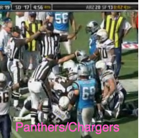 Panthers/Chargers Man-Pile